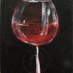 Red Wine Glass Painting Art Original Aceo