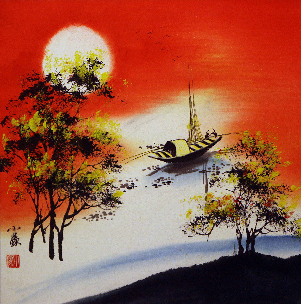 Resting Birds Colorful Asian Art Landscape
