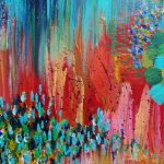 Revisioned Retro Bright Bold Red Abstract Acrylic Colorful Painting Twist Vintage