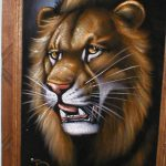 Roaring Lion Black Velvet Painting Antique