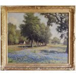 Robert Wood Texas Bluebonnets Oil Painting Circa Sale