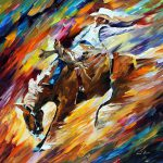 Rodeo Dangerous Games Palette Knife Oil Painting Canvas Leonid