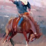 Rodeo Horse Cowboy Impressionism Champion Wild West Oil Painting American Rider