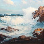 Roger Curtis Oil Painting Surf Rocks Seascape Nhantiquecoop Ruby
