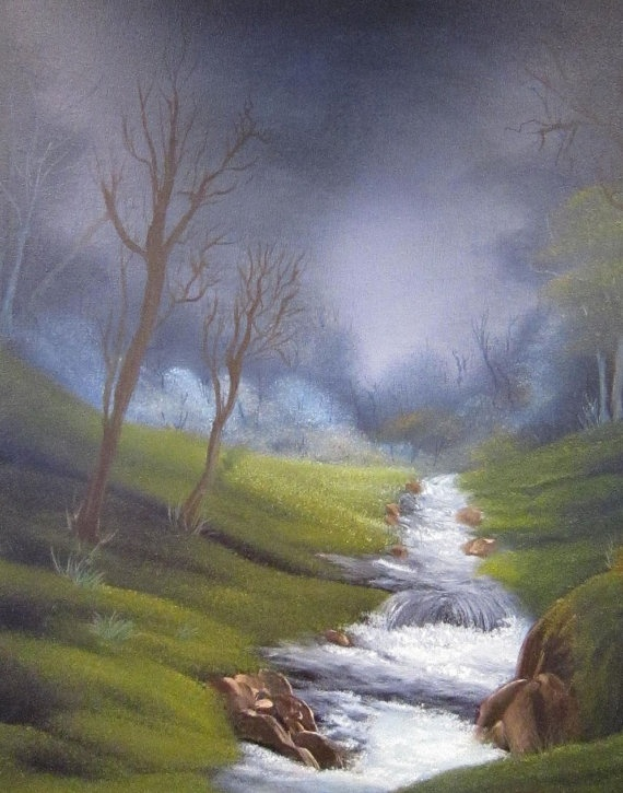 Rushing Stream Country Landscape Oil Painting Timeart