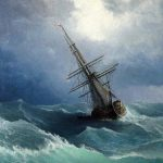 Sail Boat Storm Oil Painting