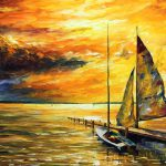 Sailing Away Palette Knife Oil Painting Canvas Leonid