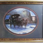 Sambataro Framed Print Horses Carriage Winter Cabin Scene Home Interiors