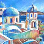 Santorini Vista Greece Introduction Acrylic Painting Lessons Beginners