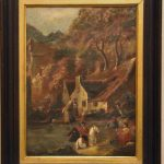Scene Village River French Antique Oil Painting Signed