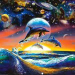 Sea Life Dolphin Universe Painting Framed Paintings