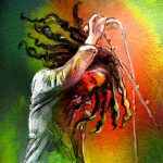 Serie Portraits Paintings Bob Marley Miki