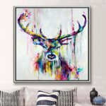 Shipping Colorful Cool Deer Female Painting Lovely Art Canvas Wall