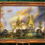 Shipping Gorgeous Trafalgar Naval Battle Extra Large Oil Painting Canvas