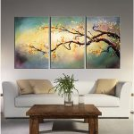 Shop Hand Painted Yellow Plum Blossom Piece Wrapped Canvas Art Set