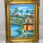 Signed Brudent Haiti Artist Haitian Village Oil Painting House Lake
