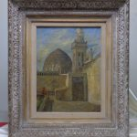 Signed Framed Antique Robinson Middle Eastern Architecture Oil Painting