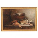 Signed Still Life Oil Canvas Painting Hare Game Birds Circa