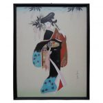 Signed Vintage Japanese Painting Silk Geisha