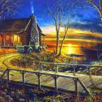 Simpler Times Cabin Lake Art Print Jim Hansel