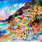 Sold Amalfi Coast Positano Evening Travel Memories Watercolor
