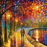 Spirits Lake Palette Knife Oil Painting Canvas Leonid