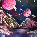 Spray Paint Art Original Space Planet Landscape