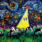 Starry Night Ufo Cow Art Print Van Gogh Never
