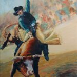 Staying Middle Rodeo Bucking Bull Painting Kim
