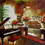 Stretched Piano Bar Quality Hand Painted Oil Painting