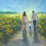 Sunflower Art Print Mom Dad Son Baby