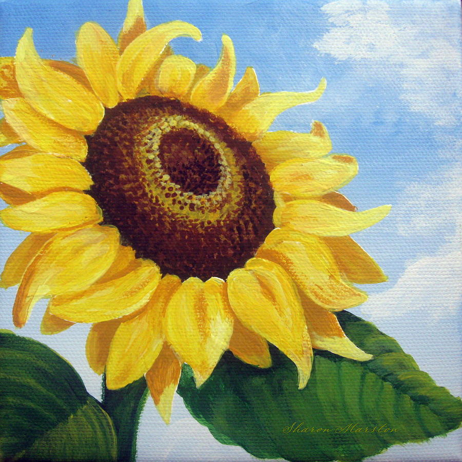 Sunflower Moment Painting Sharon Marcella