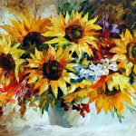 Sunflowers Palette Knife Oil Painting Canvas Leonid