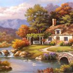 Sung Kim Cottage Stream Painting Best Paintings