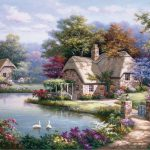 Sung Kim Swan Cottage Painting Off