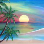 Sunset Beach Painting Original Artwork