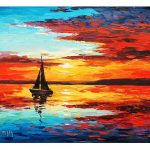 Sunset Oil Painting Sailing Boat Decor Graham