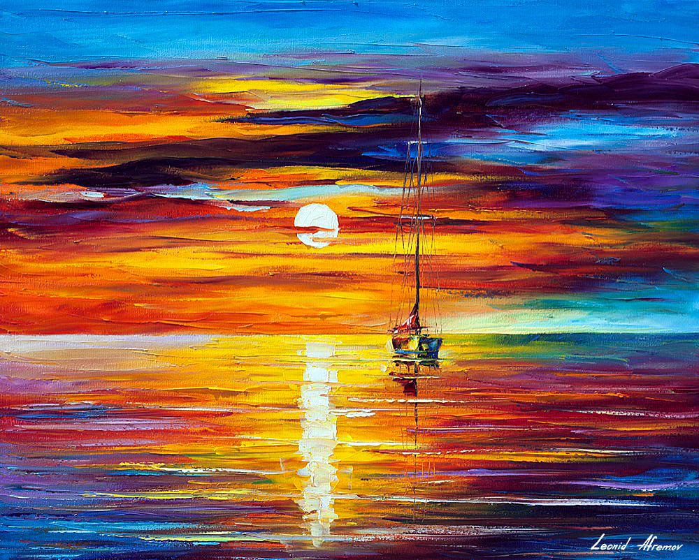 Sunset Palette Knife Oil Painting Canvas Leonid