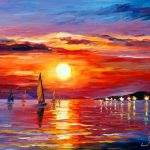 Sunset Scenery Painting Imgkid