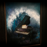 Surreal Piano Oil Painting Auction Framed Wave Harmony Joel Wright