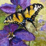 Swallow Tail Purple Flower Oil Painting Ginette