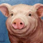 Sweet Baby Pig Portrait Painting Dottie