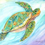 Swimming Smiling Sea Turtle Painting Marionette
