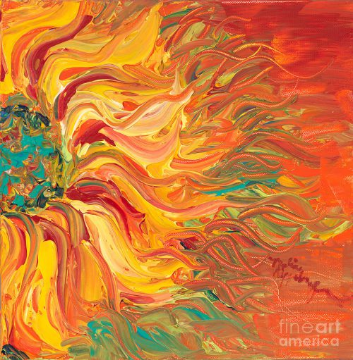 Textured Fire Sunflower Painting Nadine