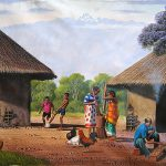 Traditional Homestead Africa Painting Oil