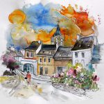 Travel Sketches France Painting Perigord Sketch Paintings