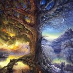Tree Time River Life Fantasy Painting Oil