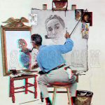 Triple Self Portrait Mirror Norman Rockwell Saturday Evening Post Anaglyph