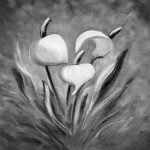 Tropical Flowers Black White Painting Gina