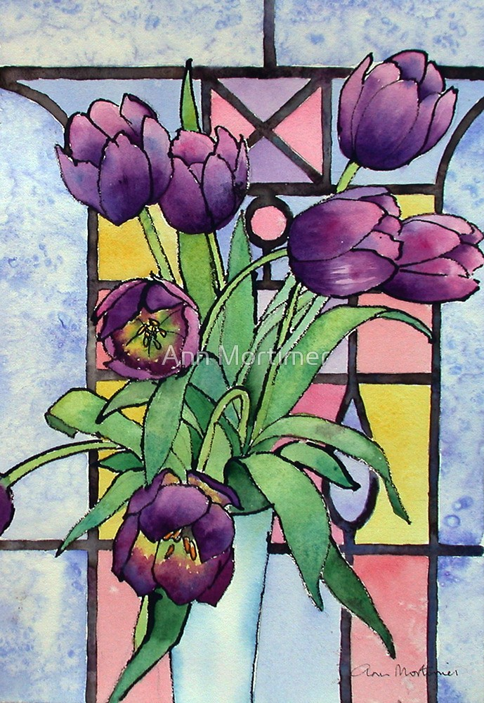 Tulips Stained Glass Window Ann Mortimer
